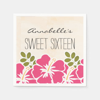 Fuchsia Hibiscus Hawaiian Sweet 16 Birthday Party Paper Napkin
