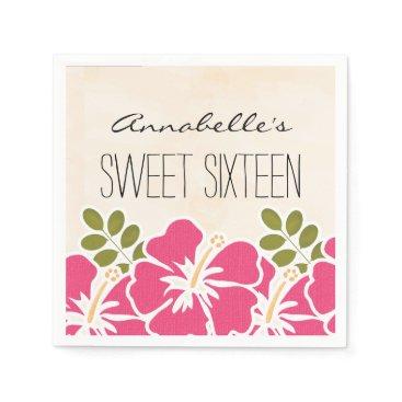 Beach Themed Fuchsia Hibiscus Hawaiian Sweet 16 Birthday Party Paper Napkin