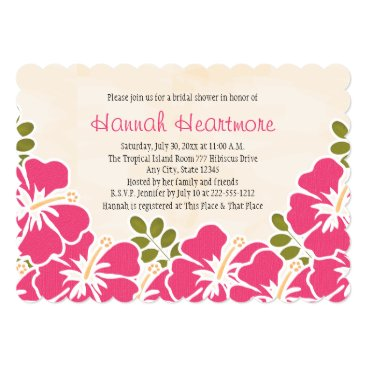 Beach Themed Fuchsia Hibiscus Hawaiian Themed Bridal Shower Card