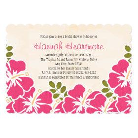 Fuchsia Hibiscus Hawaiian Themed Bridal Shower 5x7 Paper Invitation Card