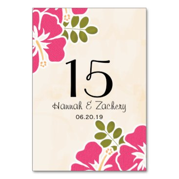 OccasionInvitations FUCHSIA HIBISCUS HAWAIIAN TROPICAL TABLE NUMBER