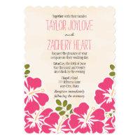 Fuchsia Hibiscus Hawaiian Wedding Invitations