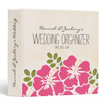 Beach Themed Fuchsia Hibiscus Hawaiian Wedding Organizer Binder