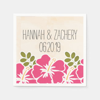 Fuchsia Hibiscus Hawaiian Wedding Paper Napkin
