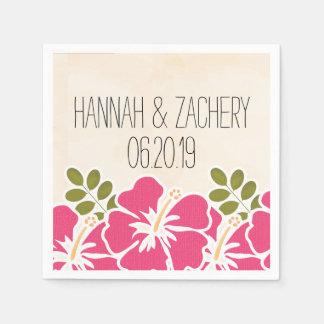 Fuchsia Hibiscus Hawaiian Wedding Paper Napkin