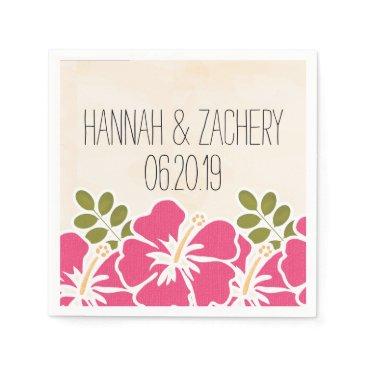 Beach Themed Fuchsia Hibiscus Hawaiian Wedding Paper Napkin
