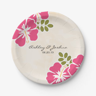 Fuchsia Hibiscus Hawaiian Wedding Paper Plate