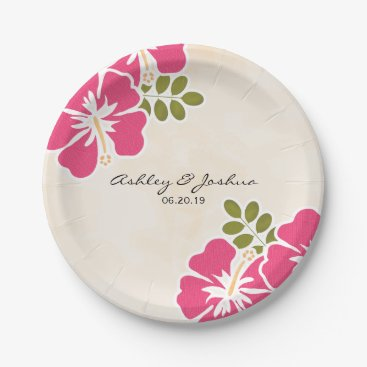 Beach Themed Fuchsia Hibiscus Hawaiian Wedding Paper Plate