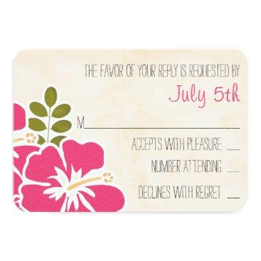 Beach Themed FUCHSIA HIBISCUS HAWAIIAN WEDDING RESPONSE CARD