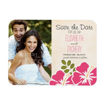 Beach Themed Fuchsia Hibiscus Tropical Save the Date Magnets