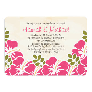 Fuchsia Hibiscus Tropical Themed Couples Shower Card