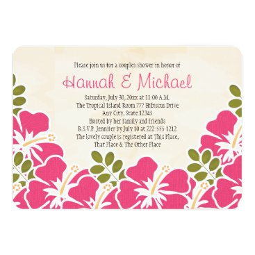 Beach Themed Fuchsia Hibiscus Tropical Themed Couples Shower Card