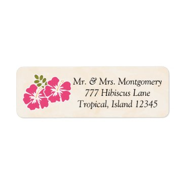 Beach Themed Fuchsia Hibiscus Tropical Themed Hawaiian Label