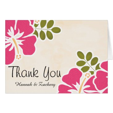 OccasionInvitations Fuchsia Hibiscus Wedding Thank You Notes Cards