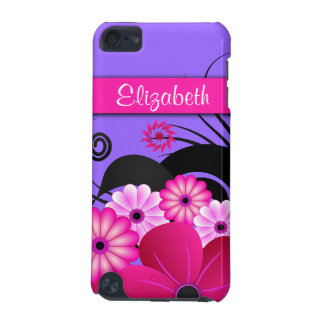 Fuchsia Hot Pink and Purple Floral Hibiscus Slim iPod Touch (5th Generation) Cover
