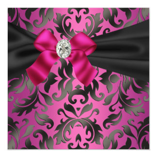 Fuchsia Hot Pink Black Damask Party Invitation