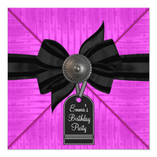 Fuchsia Hot Pink Black Womans Birthday Party Card