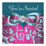 Fuchsia Hot Pink Teal Blue All Occasion Party Invitation