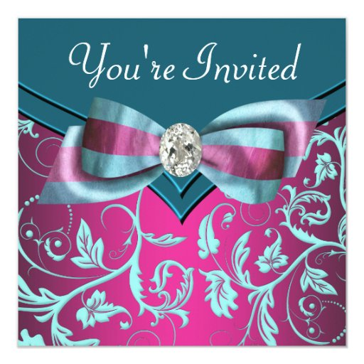 Fuchsia Hot Pink Teal Blue All Occasion Party 5.25x5.25 Square Paper Invitation Card