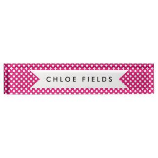 Fuchsia Hot Pink Tiny Dots Polka Dot Print Nameplate