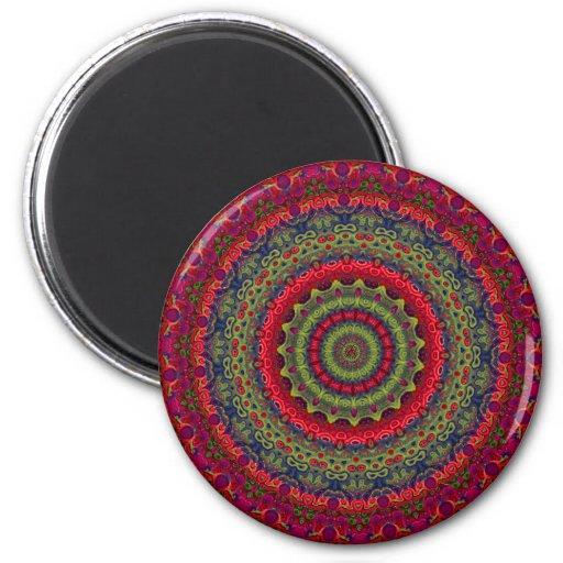 Fuchsia Kaleidoscope Mandala 2 Inch Round Magnet