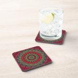 Fuchsia Kaleidoscope Mandala Beverage Coasters