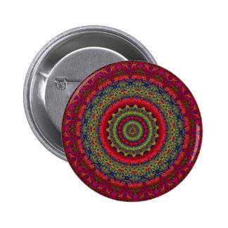 Fuchsia Kaleidoscope Mandala Pinback Buttons