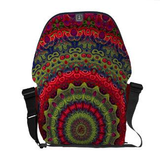 Fuchsia Kaleidoscope Mandala Messenger Bag