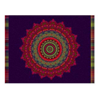 Fuchsia Kaleidoscope Mandala Postcard
