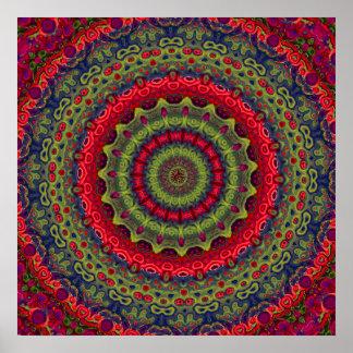 Fuchsia Kaleidoscope Mandala Poster