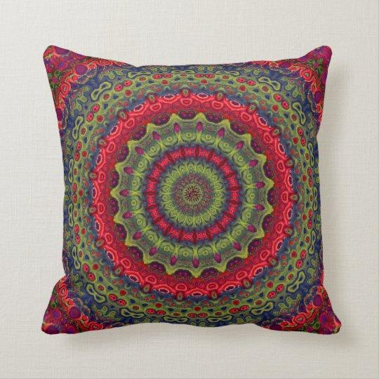 Fuchsia Kaleidoscope Mandala Throw Pillow