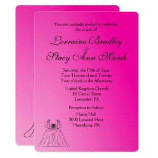 Fuchsia Lesbian Wedding Invitation