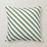 [ Thumbnail: Fuchsia, Light Pink, Green, Lime Green, and White Throw Pillow ]