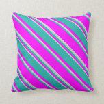 [ Thumbnail: Fuchsia, Light Sea Green, and Light Grey Stripes Throw Pillow ]