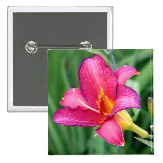 Fuchsia lily beautiful pink purple flower photo button