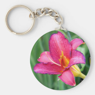 Fuchsia lily beautiful pink purple flower photo keychain