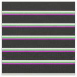 [ Thumbnail: Fuchsia, Lime Green, Beige & Black Lines Pattern Fabric ]