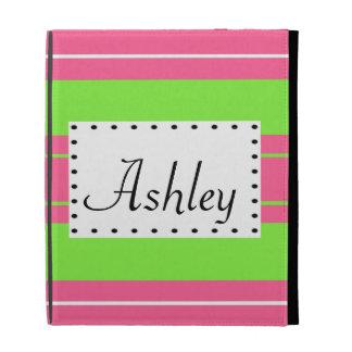 Fuchsia & Lime Stripes Custom Name iPad Cases