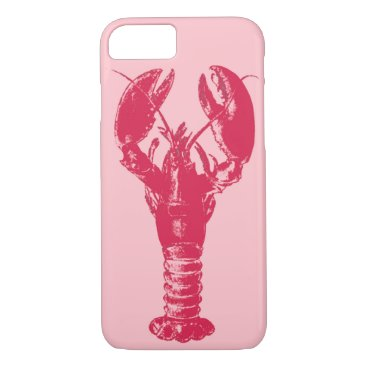 Beach Themed Fuchsia Lobster on Light Pink iPhone 7 Case
