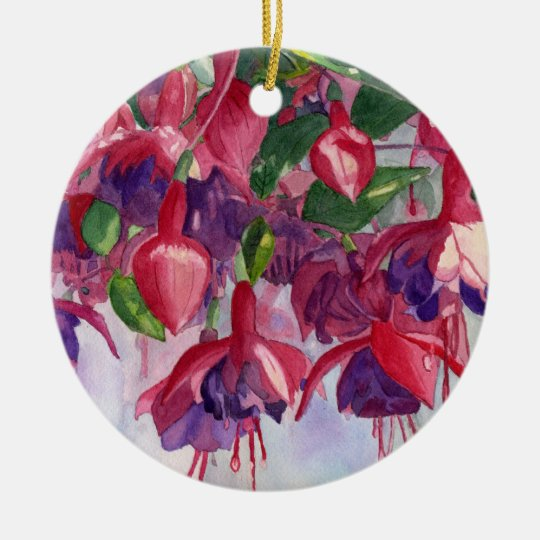 Fuchsia Lore round ornament