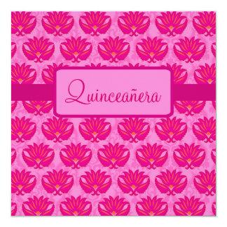 Fuchsia Love Pink Modern Damask Quinceañera Card
