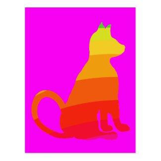 Fuchsia Magenta Rainbow Cats CricketDiane Postcard