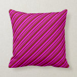 [ Thumbnail: Fuchsia & Maroon Colored Pattern of Stripes Pillow ]