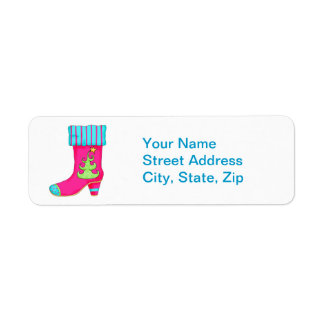 Fuchsia Merry Christmas Boot Stocking Whimsy Label