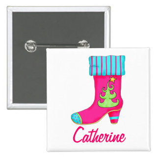 Fuchsia Merry Christmas Stocking Name Badge 2 Inch Square Button