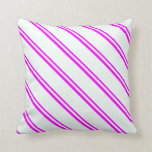 [ Thumbnail: Fuchsia & Mint Cream Colored Lines Throw Pillow ]