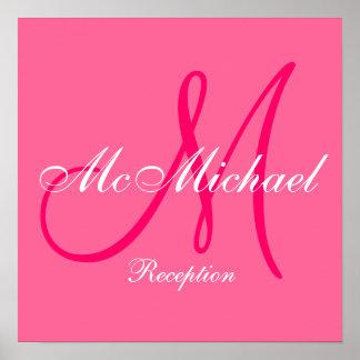 Fuchsia Monogram and Name Wedding Reception Sign Poster