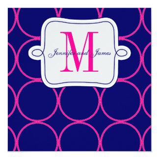 "Fuchsia Navy Blue Modern Wedding Invitation #2 5.25"" Square Invitation Card"