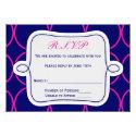 Fuchsia Navy Blue Modern Wedding RSVP #2 Custom Invitations