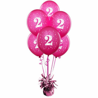 Fuchsia Number Two Balloons Pin Cutout